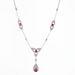 ルビー×ダイヤモンドプラチナ製ネックレス Pt950 R:3.45ct D:3.42ct