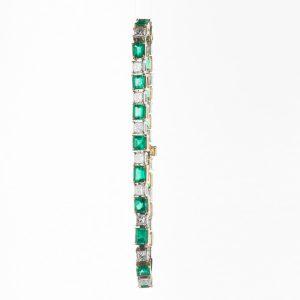 コロンビア産エメラルドxダイヤモンドイエローゴールドプラチナブレスレット (E 6.49 D4.28ct K18YG/Pt950)